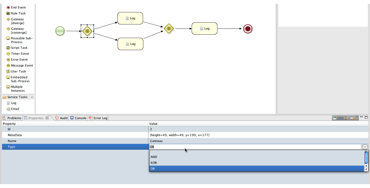 Getting Started With Drools Flow Software Passion Process Diagram Ubuntu For The Second Gateway Provide Type Xor This Ensures That We Have To Get Only From One Of Nodes Proceed Selecting And